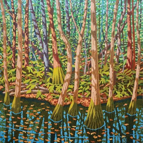 Sunlit Creekbank By Bill Iles Oil On Canvas. Photo By Amanda Hex